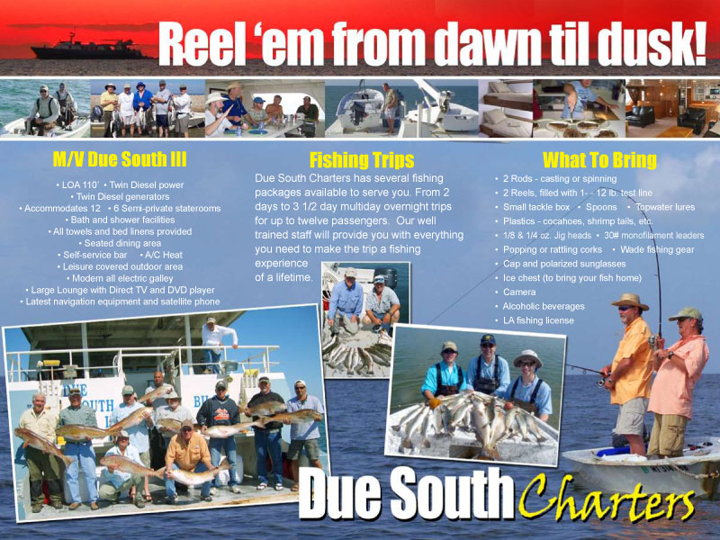 Brochure due south charters fish the gulf of mexico for Chandeleur islands fishing charters